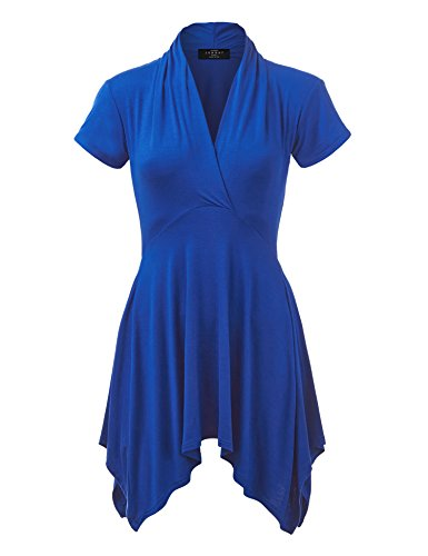 WT1120 Womens Cross V Neck Short Sleeve Empire Line Panel Tunic Top XXXL Royal_Brite