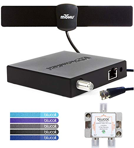 SiliconDust HDHomeRun Connect Quatro HDHR5-4US 4 TV Tuner Bundle with Mohu 25 Mile Indoor HDTV Antenna, Blucoil 2-Way TV Coaxial Cable Splitter and 5-Pack of Cable Ties