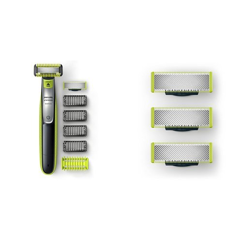 Philips Norelco OneBlade Face + Body hybrid electric trimmer and Replacement Blade, 3 Count