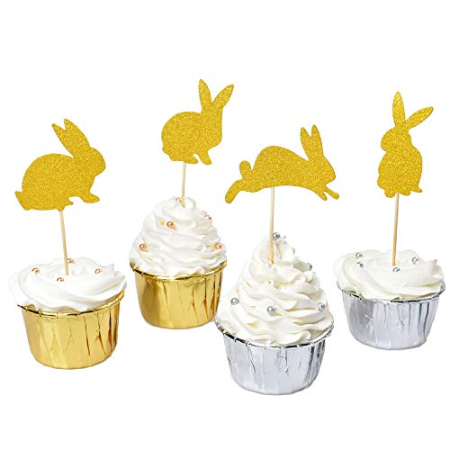 AICAKE Bunny Cupcake Toppers, Glitter Easter Cake Decorations Food Picks Rabbit Cake Topper for Baby Shower Kids Birthday Party Supplies (40PCS)