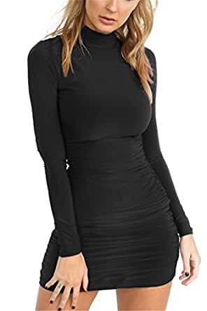 Women's Mock Neck Ruched Bodycon Bandage Clubwear Party Mini Dress S Black