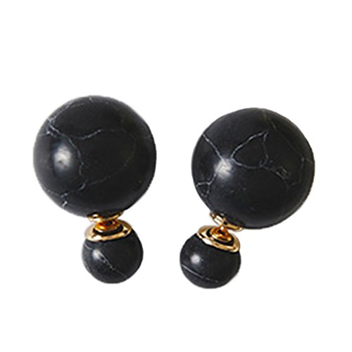 [Myun Statement Black Marble Ball Stud Earrings for Women Fashion Jewelry] (Dark Heart Queen Halloween Costumes)