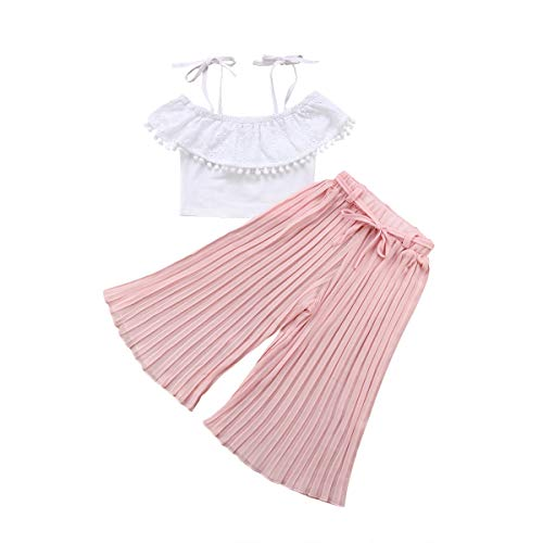 Girls Flower Crop Pant - Toddler Baby Girl Floral Off The Shoulder Strap Top + Pleated Wide Leg Pants Summer Clothes Outfits Set (White lace top+ Pink Pleated Pants,2-3 Years)