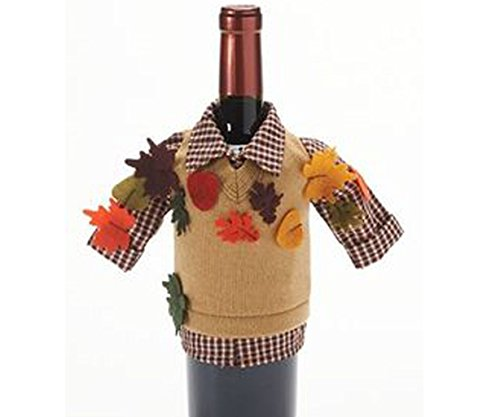Food Network Fall Leaves Wine Bottle Cover - Knit - Fall Foods Favorite