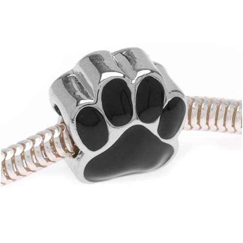 Enamel Silver Beads (Beadaholique Large Hole Paw Print Bead, Fits Pandora, Silver Tone with Black Enamel)