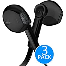 Headphones - In-Ear HD Stereo Noise Cancelling Sweatproof Sport Earphones Earbuds Flat Wired with Apple iOS Samsung and Android Compatible Microphone and Remote (Black 3-Pack)