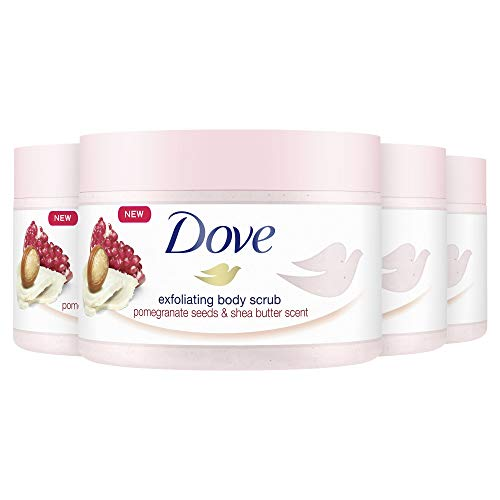 Dove Creme-Dusch-Peeling für seidig glatte Haut Granatapfel & Sheabutter mit reichhaltiger Textur, 4er Pack (4 x 225 ml)