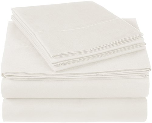 Pinzon 300 Thread Count Ultra Soft Cotton Bed Sheet Set, Twin, Ivory