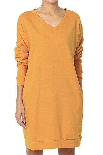 TheMogan Women's Casual V-Neck Pocket Loose Sweatshirt Tunic Mustard S/M