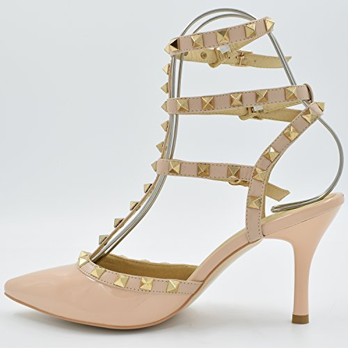 Oasap Mujer Zapatos Estiletes Brillante con Remaches Rojo