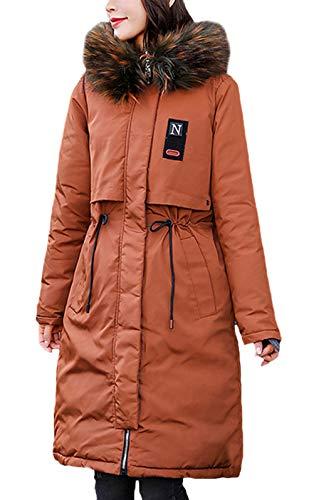 chic en longue air fourrure en épaissir plein kaki d'hiver capuche vestes d'hiver Manteaux à parka fille mode au duvet élégante vintage en veste manches femme imprimée chaud vestes wT8nEq7a