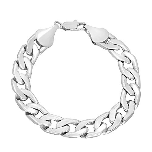 "12mm Rhodium Plated Curb Bracelet, 8"""