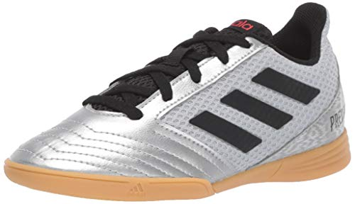 adidas Unisex Predator 19.4 Indoor SALA Soccer Shoe, Silver Metallic/Black/hi-res red, 6 M US Big Kid