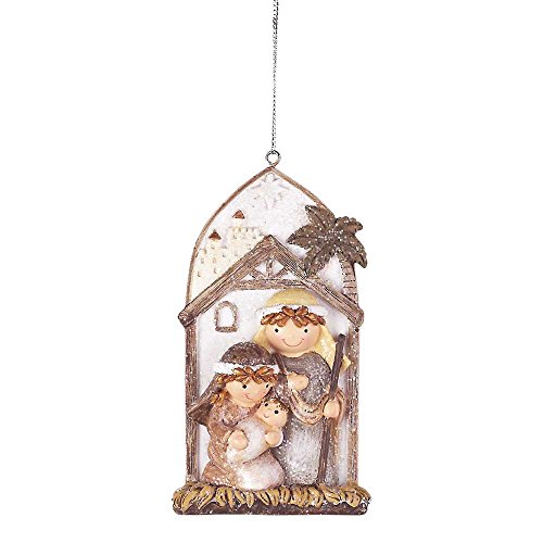 Whimsical Holy Family Glitter Ivory 2 x 4 Resin Stone Christmas Nativity Ornament - Family Glitter