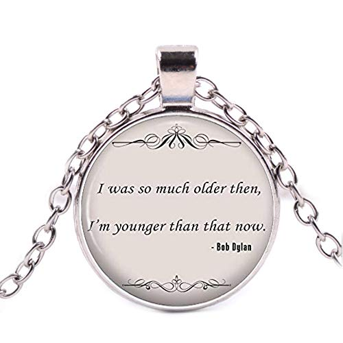 Bob Dylan Quote Necklace, Music Song Lyrics Pendant, Inspirational Jewellery Gift for Her]()