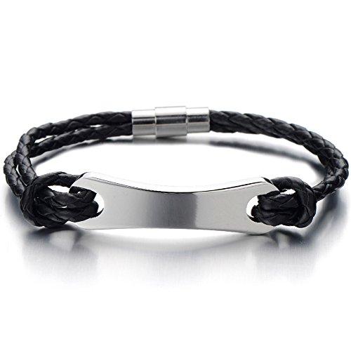 Mens Stainless Steel ID Identity Bracelet with Genuine Braided Leather Bangle Bracelet Wristband