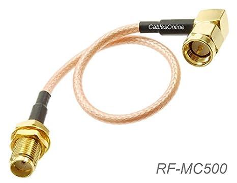 CablesOnline, 6-inches SMA ángulo recto macho a SMA hembra de mamparo RG316 Cable coaxial de baja pérdida RF, rf-mc500: Amazon.es: Electrónica