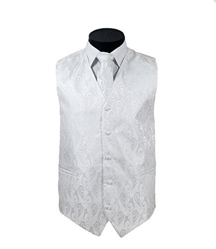 Oliver George 4pc Paisley Vest Set-White-S