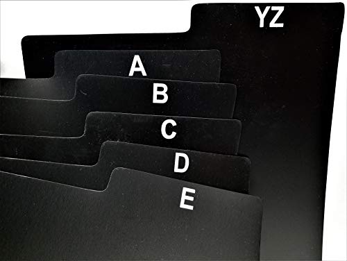 25pc. ABC Alphabet Screen Printed Black Divider Cards for LP Vinyl Record Albums + 1 Free dj Magnet