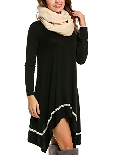 Meaneor Shirt Dress for Women, Womens Long Sleeve Casual Irregular Hem Loose Tunic Shirt Dress-Valentine's Days Gift For Her (Black,S) Casual Day Dresses