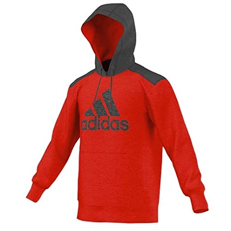 New Adidas Men's Ultimate Fleece Pullover Hoodie Logo Scarlet/Solid Grey  Large
