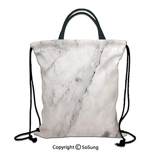 Marble 3D Print Drawstring Bag String Backpack,Granite Surface Motif with Sketch Nature Effect and Cracks Antique Style Image Decorative,for Travel Gym School Beach Shopping,Grey Dust White