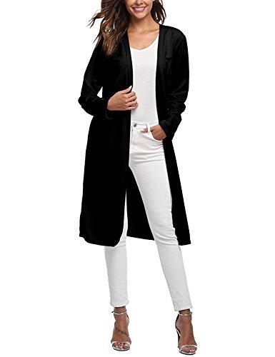 Long Black Sweater Coat - 9
