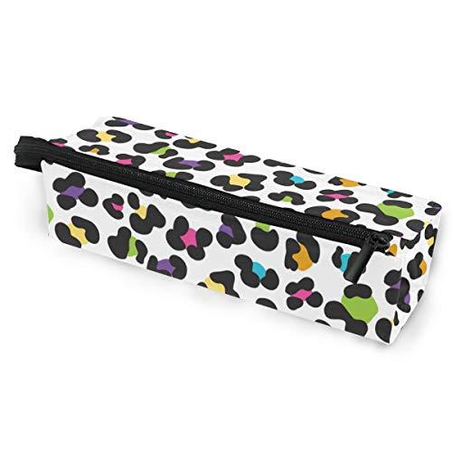 (Colorful Cheetah Leopard Print Portable Eyeglasses Case Soft Box Zipper Sunglasses Holder Pencil Cosmetic Bags Storage)
