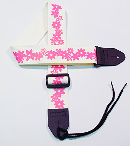 """Girls Flower Guitar Strap comfortable 2"""" Cotton Strap with H"""
