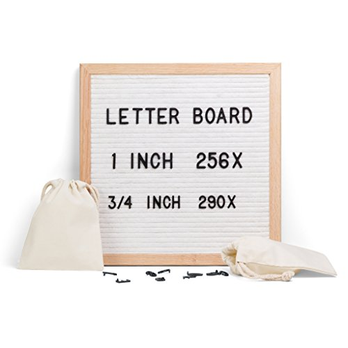 """Letter Board 12""""x12"""" - Original Changeable Felt Message Board Sign in Oak Frame with 546 Two Size Letters & Symbols + 2 Canvas Bags by Cumbreca"""