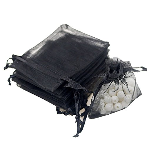 Tovip 3.54 X 2.76 (7x9cm) 50Pcs/Lot Organza Bags Wedding Pouches Jewelry Packaging Bags Nice Gift Bag Wholesale (Black)