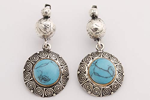 Elegant and Special! Ottoman Motif Turkish Handmade Jewelry Round Shape Turquoise 925 Sterling Silver Drop/Dangle Earrings - Motif Turquoise Earrings