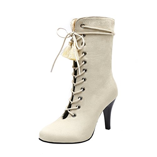 YE Damen Ankle Boots Stiletto High Heels Stiefeletten mit Schnürung und Reißverschluss 9cm Absatz Elegant Schuhe Beige