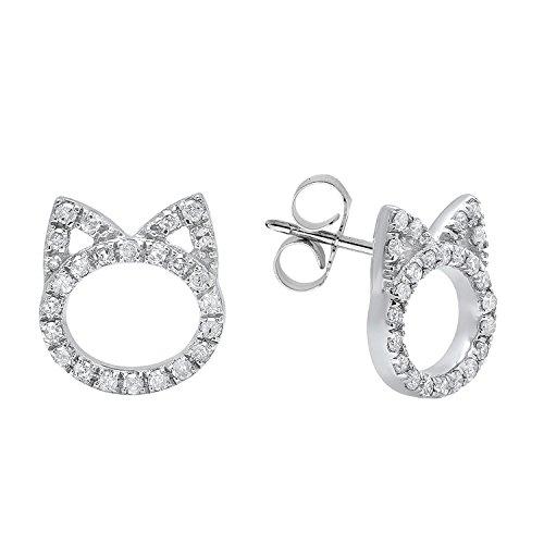 0.25 Carat ctw Round White Diamond Ladies Cat Stud Earrings 1 4 CT, Sterling Silver