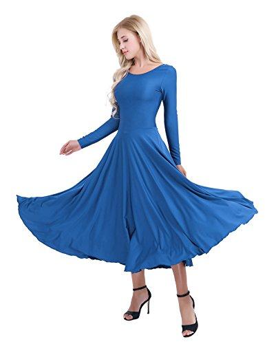 - MSemis Women's Praise Dance Dresses Long Sleeve Full Length Long Sleeve Liturgical Dress Blue Small