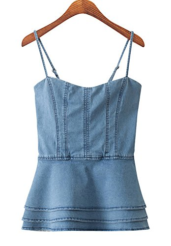 Top Denim Tube (AvaCostume Women's Denim Sleeveless Strap Layered Tank Top, X-Small)