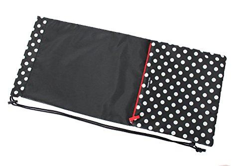 HALKARIN'S Co.,Ltd. Full Size Tennis Racquet Cover, Soft Type, Size: W 13.65 x H 31.2 inch, Polka dot black