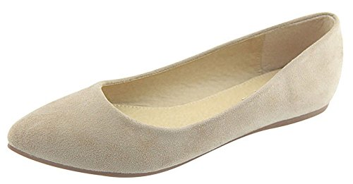 Anna Shoes Womens Classic Closed Pointy Toe Slip-On Ballet Flat Beige JPQ1b
