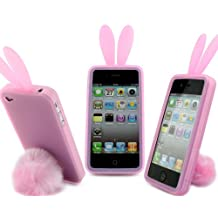 Fosmon Bunny Rabit Silicone Case Skin for Iphone 4 Stand Tail Holder - Clear Pink