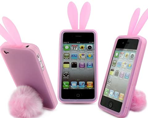 Bunny Rabit Silicone Case Skin for Iphone 4 Stand Tail Holder (Sonic Iphone 4s Case)