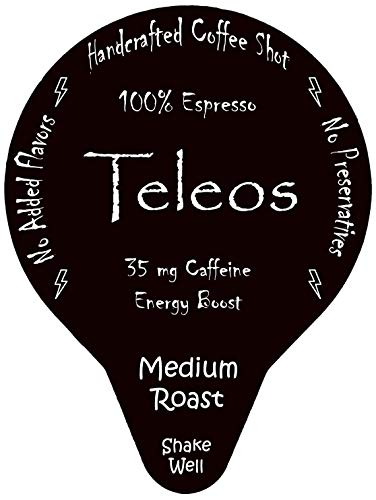 (Espresso Coffee Shot Energy Boost - By Teleos, Ready to Drink Shots (20 Pods), Handcrafted, Black Unsweetened, Single Serve Pod)