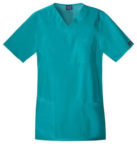 Cherokee Workwear Scrubs Tall Unisex V-neck Top, Teal Blue, 5X-Large/Tall