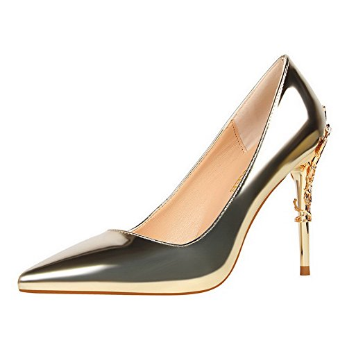Odomolor AmagooTer Women's High-Heels Patent Leather Solid Pull-on Closed-Toe Pumps-Shoes Gold n60Tzx5I