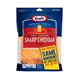 Kraft Zip Pak Natural Finely Shredded Sharp Cheddar Cheese, 8 Ounce - 12 per case.