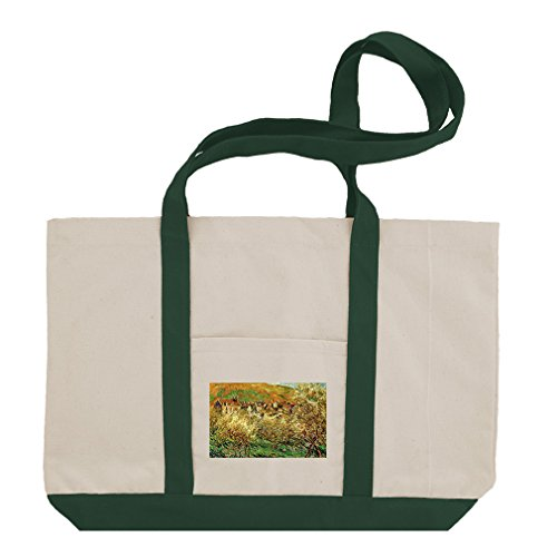 Flowering Apple Trees (Monet) Cotton Canvas Boat Tote Bag Tote - Green Flowering Apple