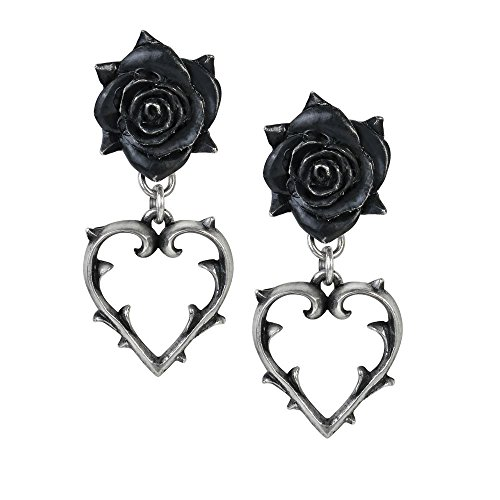 (Alchemy Gothic Wounded Love Black Rose & Thorned Heart Earrings)