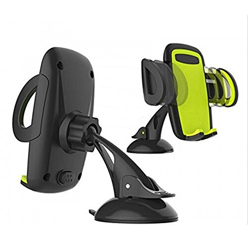 Cyber Roll Car Mount Phone Holder 3-in-1 Universal Dashboard Air Vent Windshield Stand 360° Rotation Ball-bracket Cradle Mobile Phone Support for iPhone Samsung Galaxy And More (Green)