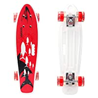 YF YOUFU 22 Inch Complete Cruiser Skateboard, Plastic Mini Cruiser Skateboards for Beginners/Boys/Girls/Youth/Adults
