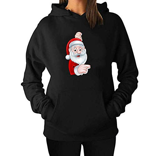 SHUAIFA Women's Autumn Winter Sweatshirt Hoodies Hooded Cartoon Santa Claus Christmas Printed Top Blouse Black XL