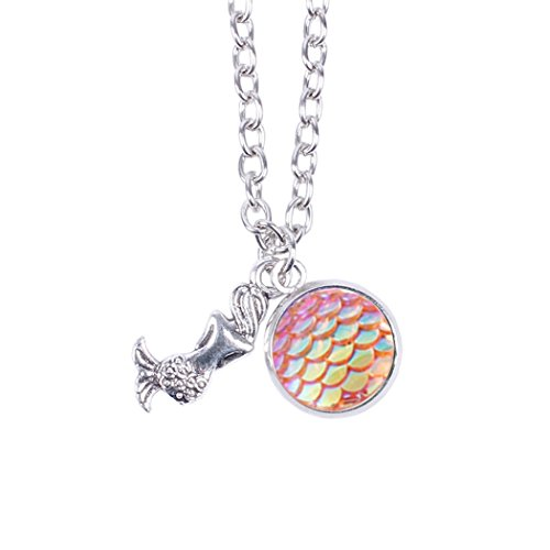 Myhouse Women Girls Colorful Fish Scales Pattern Mermaid Pendant Necklaces for Gifts Charms Findings (Pink) (Pink Mermaid Charm)